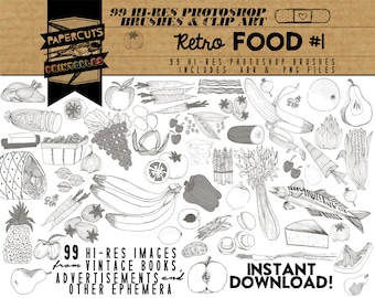 Retro Food #1 - 99 Hi-Res Photoshop Brushes / Clip Art / Image Pack - Includes .ABR and .PNG Files