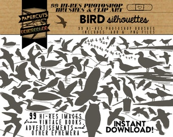 Bird Silhouettes - 99 Hi-Res Photoshop Brushes / Clip Art / Image Pack - Includes .ABR and .PNG Files