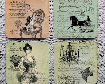 Pastels -- Vintage French Images Mousepad Coaster Set