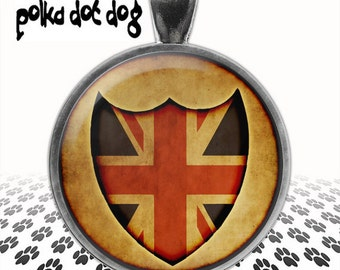 Oh, Britannia -- Union Jack Shield Large Glass-Covered Pendant