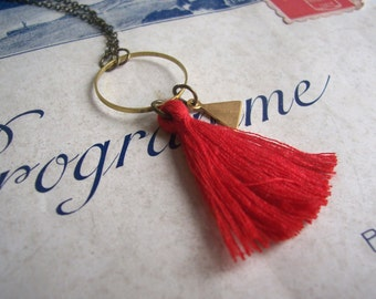 Red Tassel necklace with Triangle charm - cotton and brass on fine chain - Summer jewellery