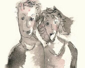 Money Couple - art print