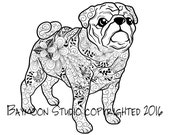 Pug Coloring Page, Dog Art, Printable Coloring Pages, Adult Coloring Pages, Hand Drawn, Digital Illustration, INSTANT DOWNLOAD PRINT