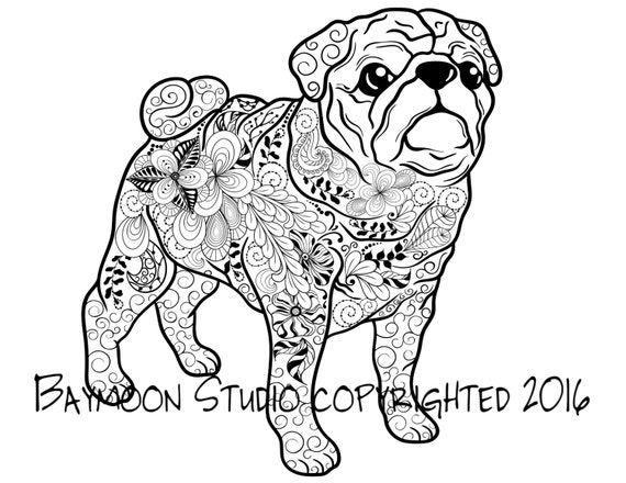 pug coloring pages to print - pug coloring page dog art printable coloring by baymoonstudio