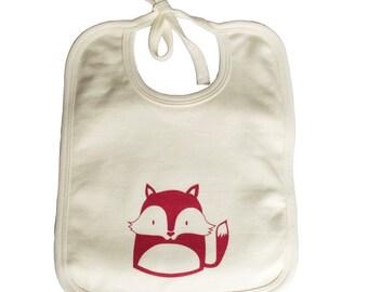 Fox organic cotton bib, fox print, organic baby