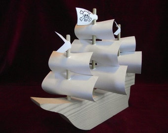 Pirate Ship with Sails, Unfinished Pine Cutouts