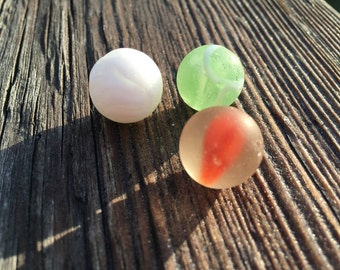 Nova Scotia Beach Sea Glass Marbles Mint Green , white , orange set of three