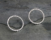 Peekaboo Sterling Silver Circle Dot Earrings, Round Stud Post Earrings, Bead Band Circles, Modern Simplicity Infinity, Shiny or Oxidized