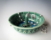 Green & Gold Ring Holder, Pottery Ring Dish, Ceramic Jewelry Dish, Ring Tree