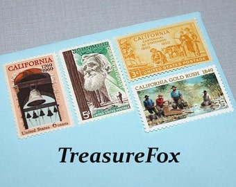 CALIFORNIA DREAMING .. Unused Vintage US Postage Stamps enough for you to mail 5 letters