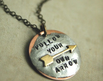 Arrow  Necklace, Handstamped Pendant, Follow Your Own Arrow Necklace, Custom Word, Soldered, Personalized Necklace