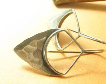 Sterling Silver Pixie Earrings Silver Shield Earrings, Metalsmith Earrings, Modern Metalwork Jewelry, Contemporary Sterling Silver Earrings