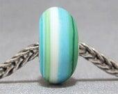 FITS TROLLBEADS ONLY Blue, Green & White Handmade Lampwork Bead Glass Big Hole Bead Bali Beach