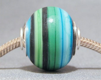 Handmade OOAK Focal Round Lampwork Glass Necklace Bead AKDesigns Beach Cabana