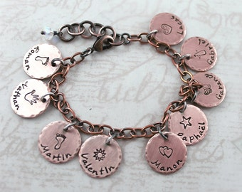 Valentine's gift, copper jewelry personalized bracelet, hand stamped custom name, custom charm bracelet, zodiac jewelry