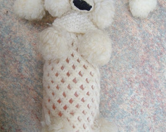 vintage 60's knitted Poodle bottle cover retro bath salts bottle cover