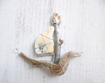 Nautical Boat Suncatcher Ornament with Beach Pottery and Driftwood