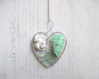 Sea Foam Green Beach Pottery, Sea Glass, and Coral  Heart Suncatcher Ornament