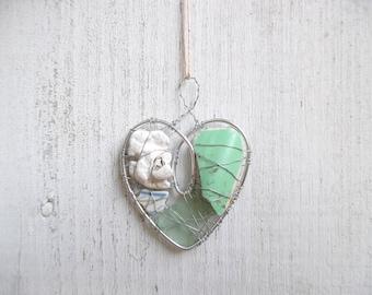 Sea Foam Green Beach Pottery, Sea Glass, and Coral  Heart Suncatcher Ornament