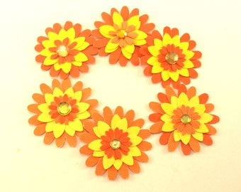 Orange and Yellow Paper Flowers, Scrapbook Embellishments, Floral Embellishments, Set of 6 Hand-Punched Flowers, Card Making Supplies