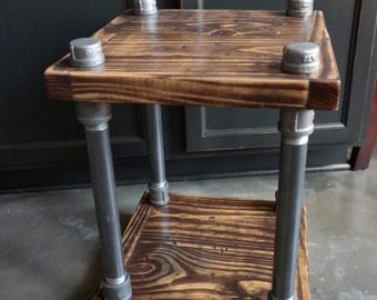 Delightful Rustic Industrial End Table   Wood And Pipe