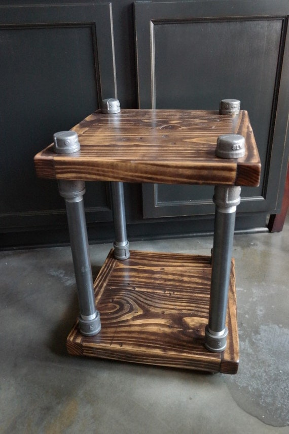 Rustic Industrial End Table Wood And Pipe