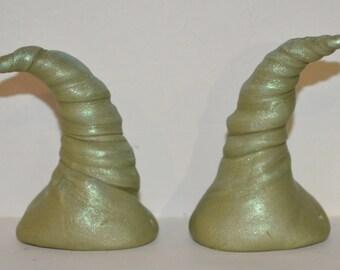 Green Grape Fizz Horns Polymer Clay Festival, Halloween, Troll, Devil, Ren Fair