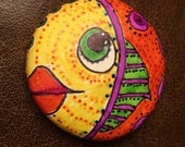 Handmade clay face  fish head rock pebble cabochon stone art jewelry craft supplies  handmade faces polymer