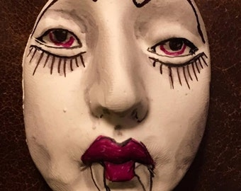 Vampire clay face jewelry horror craft supplies Dracula  handmade cabochon  large man  mask  polymer findings doll parts head mask  tribal