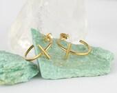 Gold Hoop Earrings. Small Hoop Earrings. Cross Earrings. Simple Earrings. Minimalist Earrings. Modernist Jewelry. Jewellery Handmade
