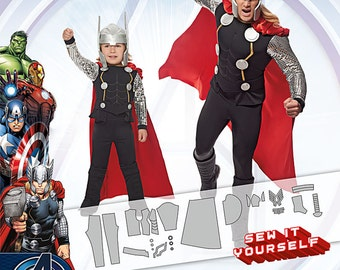 Sewing Pattern-Marvel's Avenger Thor Simplicity 1038 Size 3-8 Boys/Small-X-Large Men's