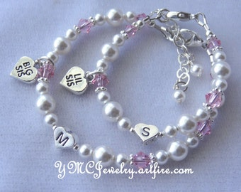 SET TWO Big Sister/Little Sister Initial Heart Bracelet, Heart Big Sis Lil Sis Charm Bracelet, Big Sister Bracelet, Little Sister Bracelet