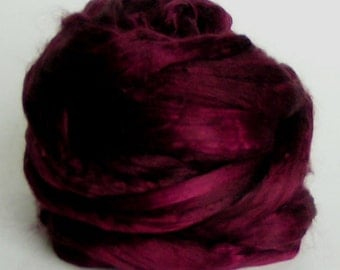 SILK Sliver Fiber cultivated Roving Mulberry Top Rove BEAUJOLAIS Supreme Quality A1 PhatFiber Hand Painted  Handspinning Sample