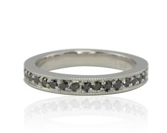 Black Diamond Ring, Black Diamond Pave Wedding Band with Milgrain Detail - LS2674
