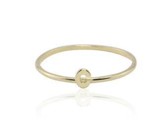 "Laurie Sarah Solid 14k Yellow Gold Lower Case Letter ""c"" Monogram Ring - LS3398 - All letters available"