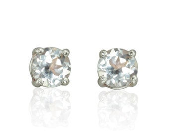 Laurie Sarah White Topaz Stud Earrings in 14k White Gold - 6mm Round - LS635