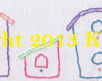 Bird House Hand Embroidery Pattern, 5 Simple Bird Houses, Bird, House, Cute, Fast, Easy, Bright, PDF