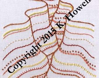 Sampler Hand Embroidery Pattern, Grand Canyon, Square, Fancy, Variety, Bryce Canyon, Sample, Canyon, Fun, Stitches, PDF