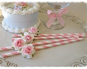 Birthday Decoration Shabby Chic Pink Straws for Birthday Party Birthday Ornament  Set of Eight for Tea Party