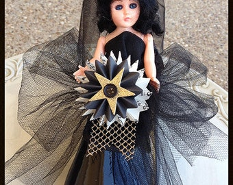 Vintage Halloween Doll in Black Halloween Decoration  Halloween Ornament for Halloween party TVAT