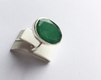 Unique SILVER with Emerald Stones ring