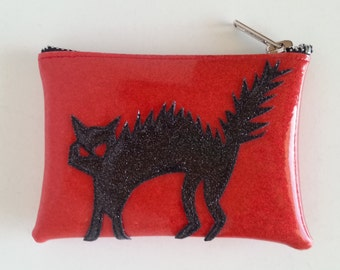 Coin purse red metalflake vinyl with black cat
