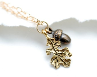 Oak Leaf Necklace, Leaf Jewelry, Acorn Necklace, Gold Necklace, Autumn Jewelry, Woodland Wedding, Nature Jewelry, Gold Fill, Falling Leaves