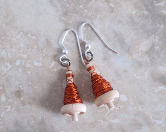 Orange Drop Spindle Earrings