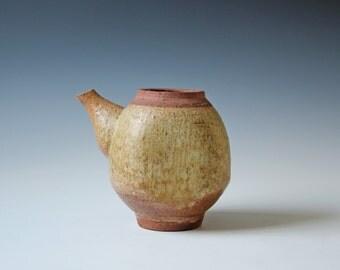 Vintage Wabi Sabi studio art pottery teapot, simple rustic, natural brown color