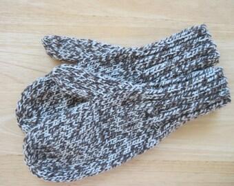 MITTENS HAND KNIT Adult Wool Dark Toasted Almond Tweed