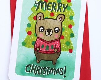 Merry Christmas Bear Ugly Sweater Card - Christmas Card, Holiday card, Holiday Greetings, Season's Greetings, Funny Christmas Card, Notecard