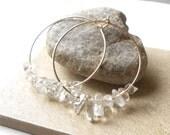 Gold Hoop Earrings, Crystal Quartz Gemstone Hoop Earrings