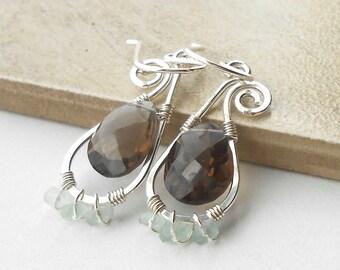 Sterling Silver Gemstone Dangle Earrings, Smokey Quartz, Green Fruorite Wire Work Earrings