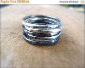 CLEARANCE: Set of Five Sterling Silver Textured Stacking Rings. Oxidized and Shiny Thick Rings. Gift for Her